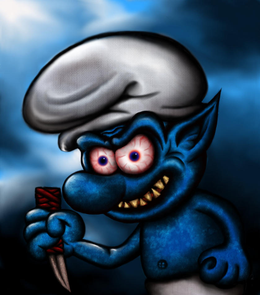 smurf evil digital gimp blue scary