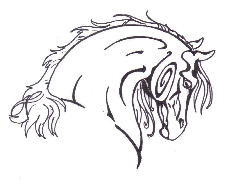 tribal horse head drawings. Black Bedroom Furniture Sets. Home Design Ideas