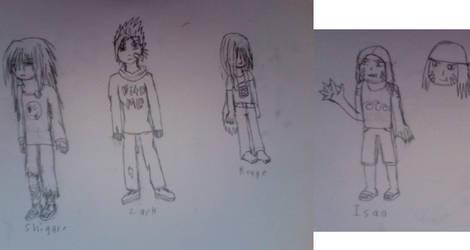 Shigure, Zack, Rouge, Isao