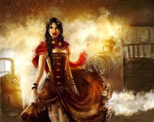 Steampunk-Western Girl by Esther-Sanz
