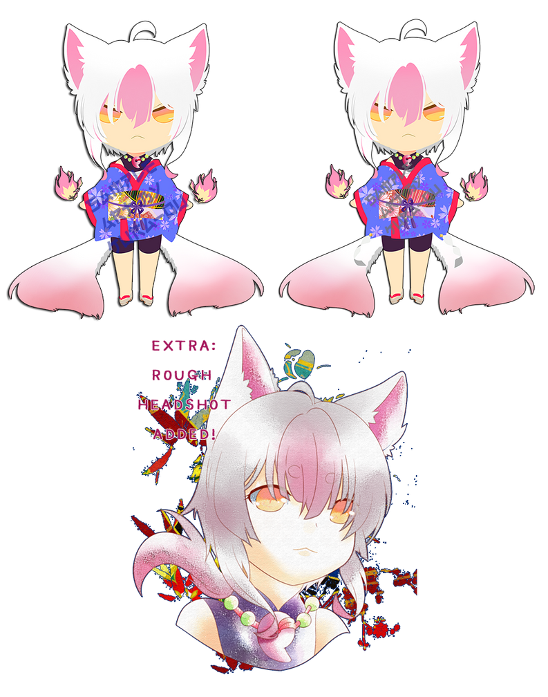ADOPTABLE 2_Twin-Tailed Pink Fox CLOSED by kura-ou