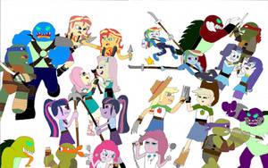 Equestria Ninja Girls Attack of the Evil Clones by TMNTony
