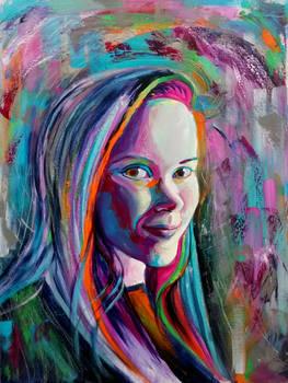 self portrait in acrylic, non-traditional