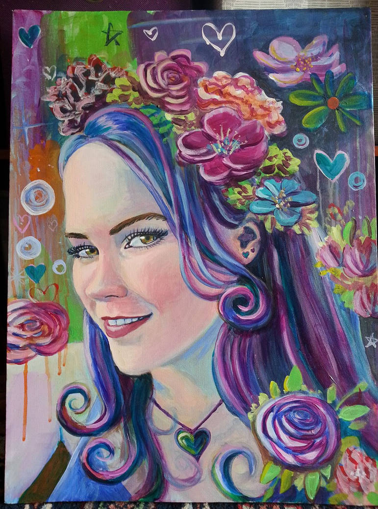 self-portrait acrylic traditional by beckhanson
