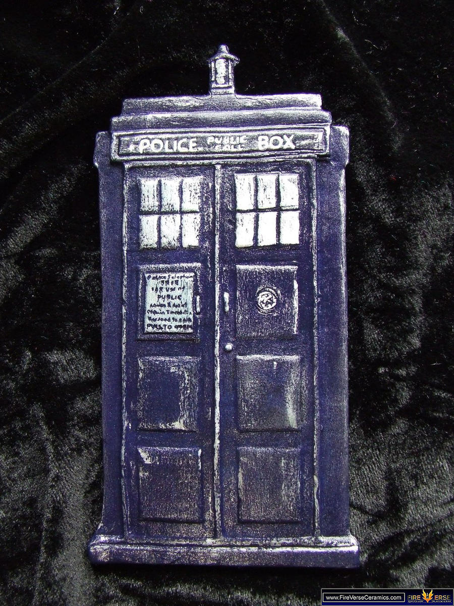 Doctor Who TARDIS ceramic display ornament by FireVerseCeramics