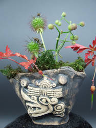 Aztec Windlord Ehecatl Kusamono Display Pot