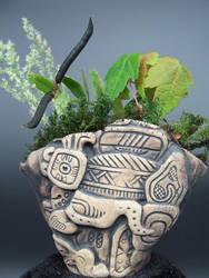 Godhead Mayan Sun God Kusamono Display Pot