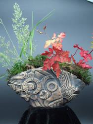 Handmade Azetec Glyph Kusamono Display Pinch Pot
