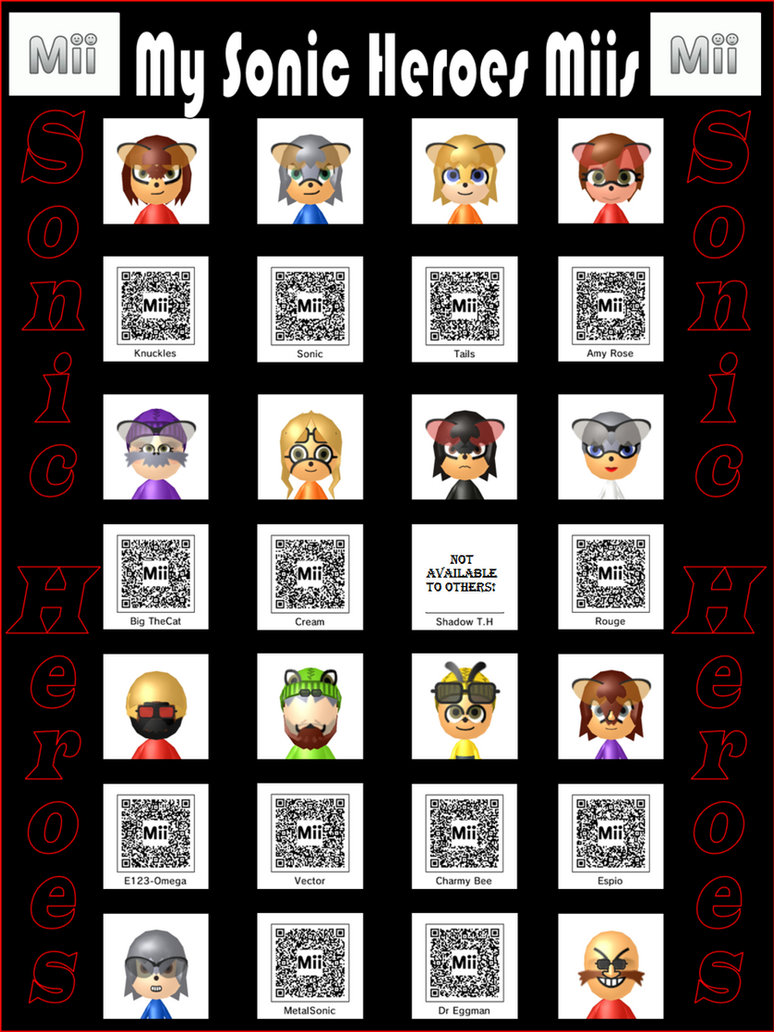 Sonic Heroes Miis with QR codes by wererapter-nelson