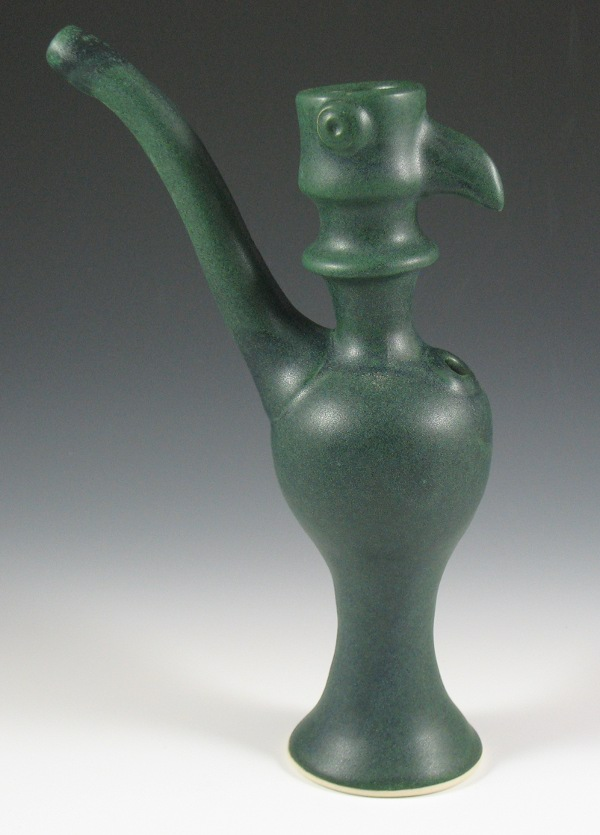 Tall Green Bird Effigy Water Pipe by slidercat