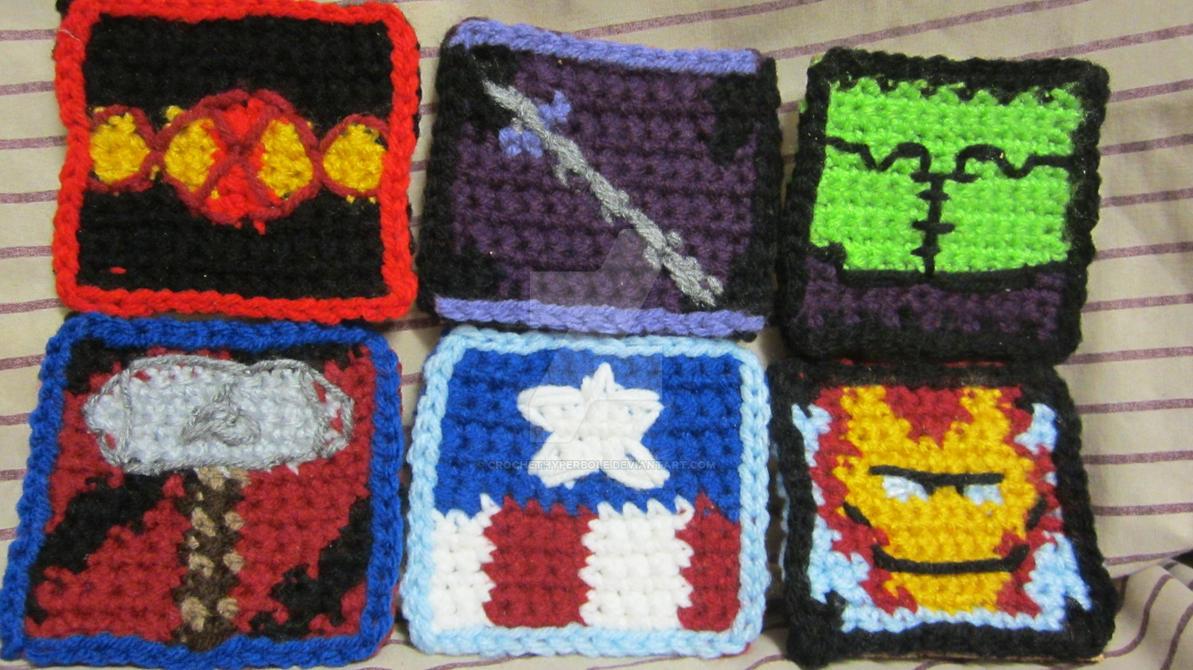 Avengers Crochet Coasters For Sale By Crochethyperbole On Deviantart
