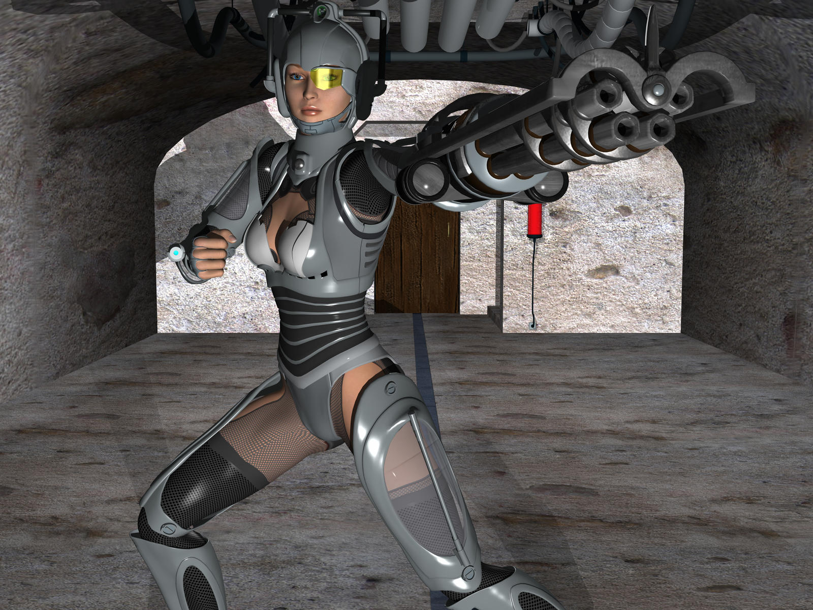 Tooled Up Cyberwoman by IcehawkPrime