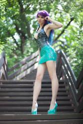 Latex dress in da park
