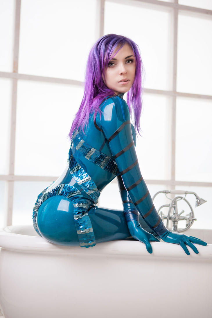 Blue latex catsuit by octokuro