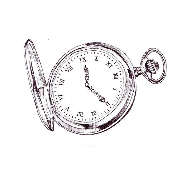 Open pocket watch tattoo design