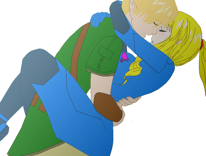 zero suit samus and link kiss -#main