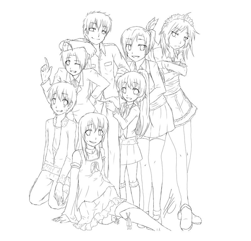 Anime Best Friends Girl Coloring Pages