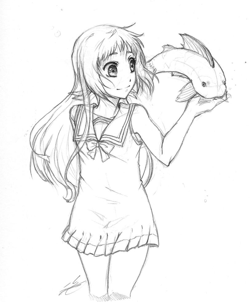 NagiAsu: Manaka and a Fish by Artifedex