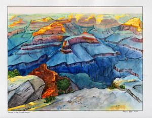 Grand Canyon Sunset in Watercolors