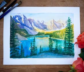 Moraine Lake Watercolor