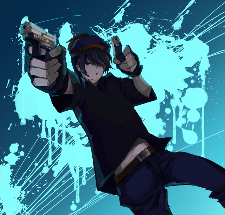 Stan Marsh in anime version with gun by Giannitoarlie