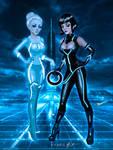 Tron Girls - Quorra and Gem by kharis-art