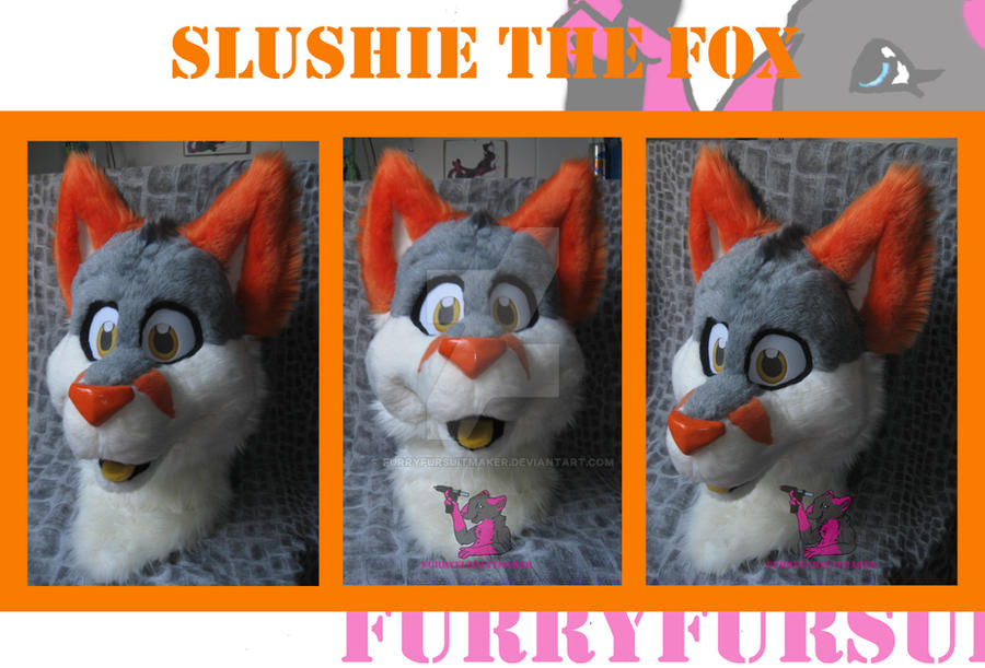 Slushie the Fox head turn around. by FurryFursuitMaker