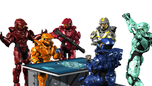 RVB Crew Playing Halo Wars 2 Blitz on a board