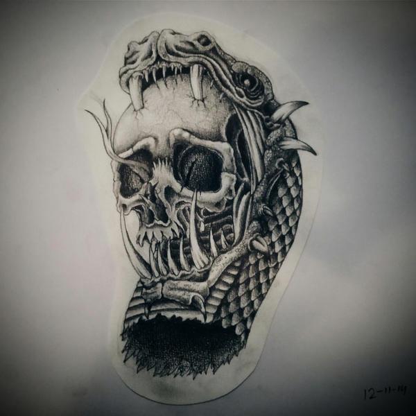 snake skull by mitsj on deviantart. Black Bedroom Furniture Sets. Home Design Ideas