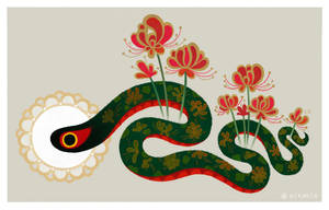 Snake and flowers by pikaole