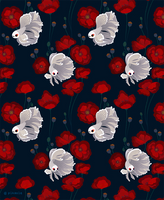 Bettas and Poppies - pattern by pikaole