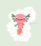 Axolotl with magic pearl