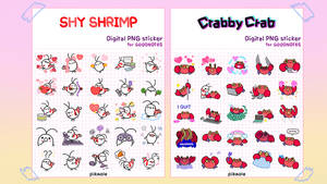 Good Notes sticker  Shy Shrimp and Crabby Crab