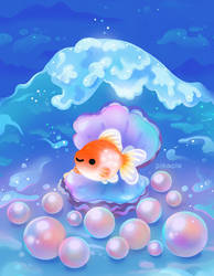 Pearlscale goldfish with pearls