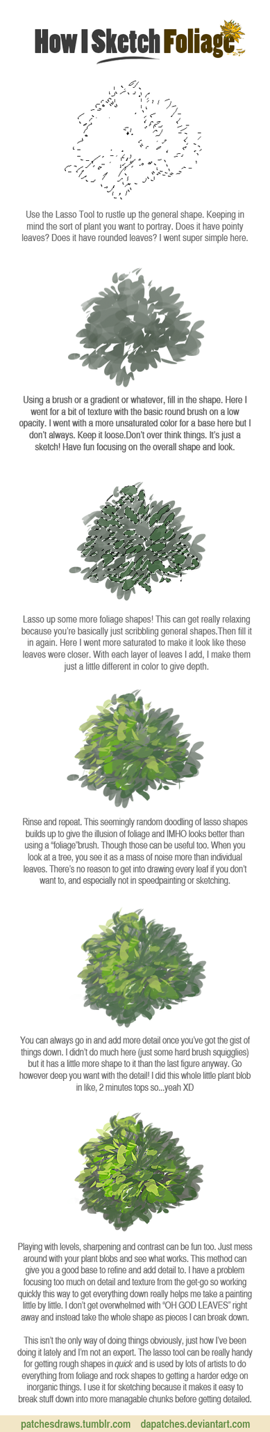 Foliage Sketching with the Lasso Tool by daPatches