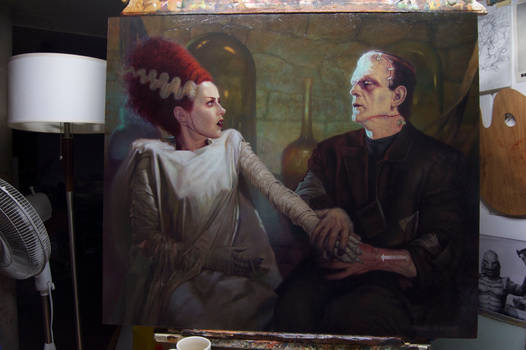 THE BRIDE OF FRANKENSTEIN OIL PAINTING