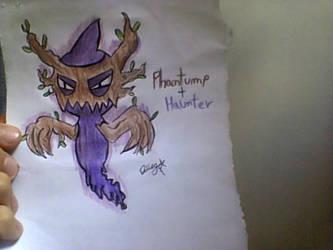 Phantump + Haunter Pokemon Fusion by DiegoDraws-Yan