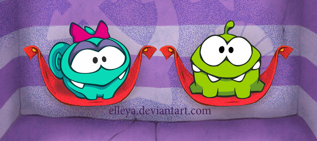how to draw om nom and friends