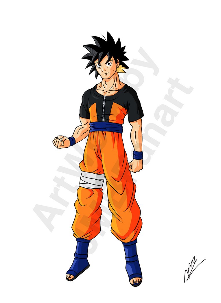 Goruto Goku And Naruto Fusion Old Version By JMBfanart On DeviantArt - Skins para minecraft pe broly