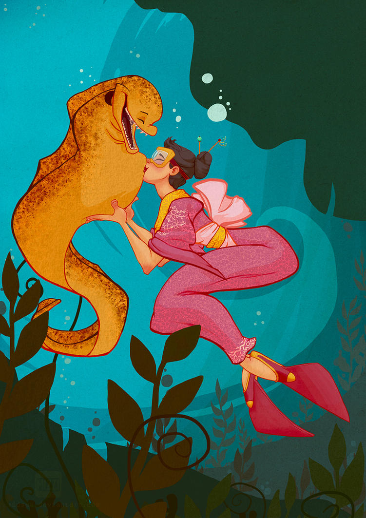 A girl and her eel by Midsea