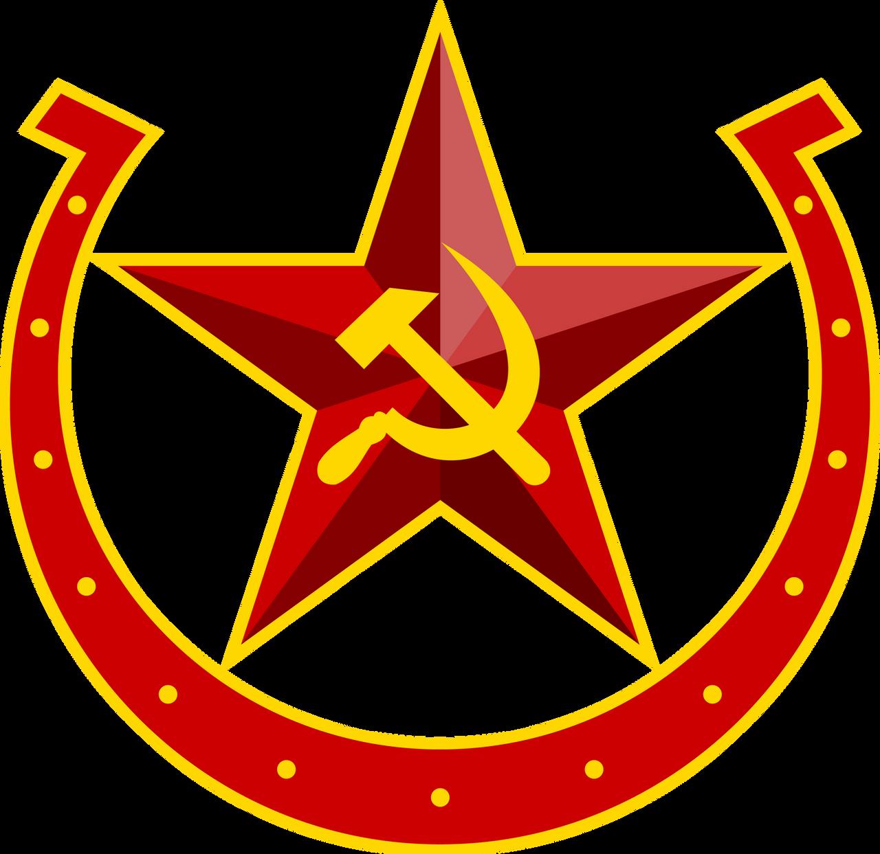 Soviet Equestria hammer-sickle-horseshoe emblem by QTMarx