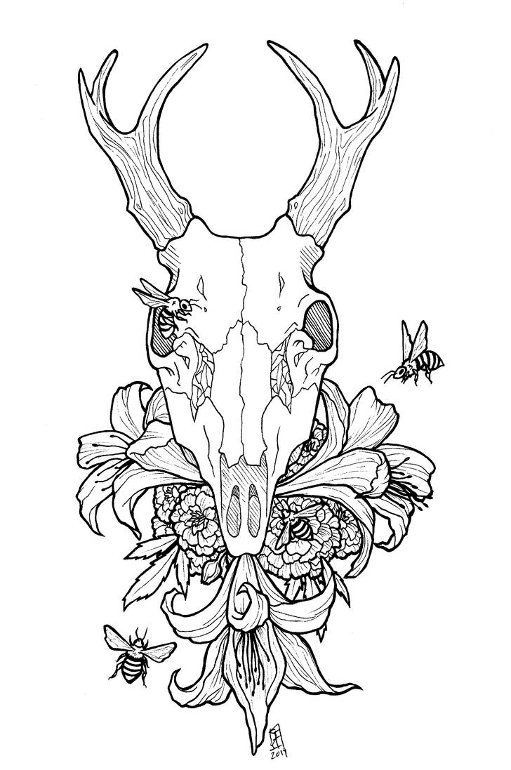 Flowers And Deer Skull Tattoo Commission By Skyfrostart On Deviantart