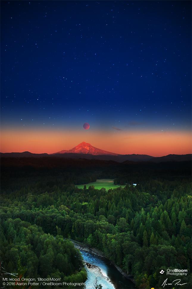 Blood Moon Mt. Hood Oregon by OneBloomPhotography