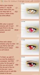 Tutorial COPIC, coloring manga eyes, red version by Suki-Manga