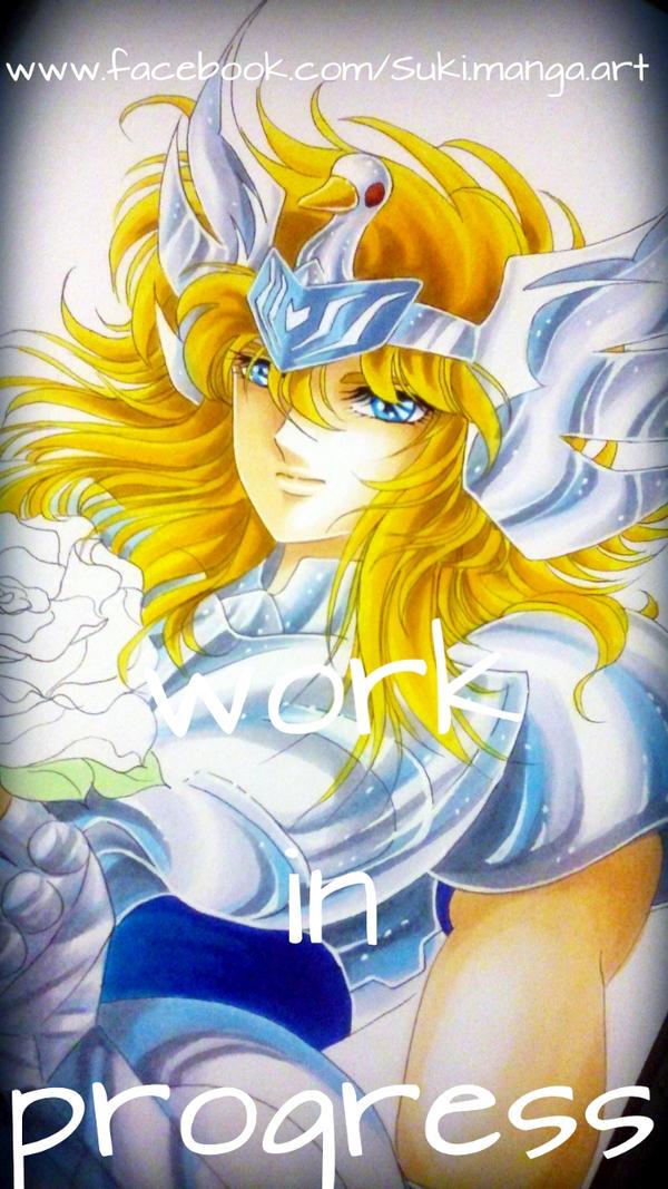Hyoga fan art, work in progress by Suki-Manga