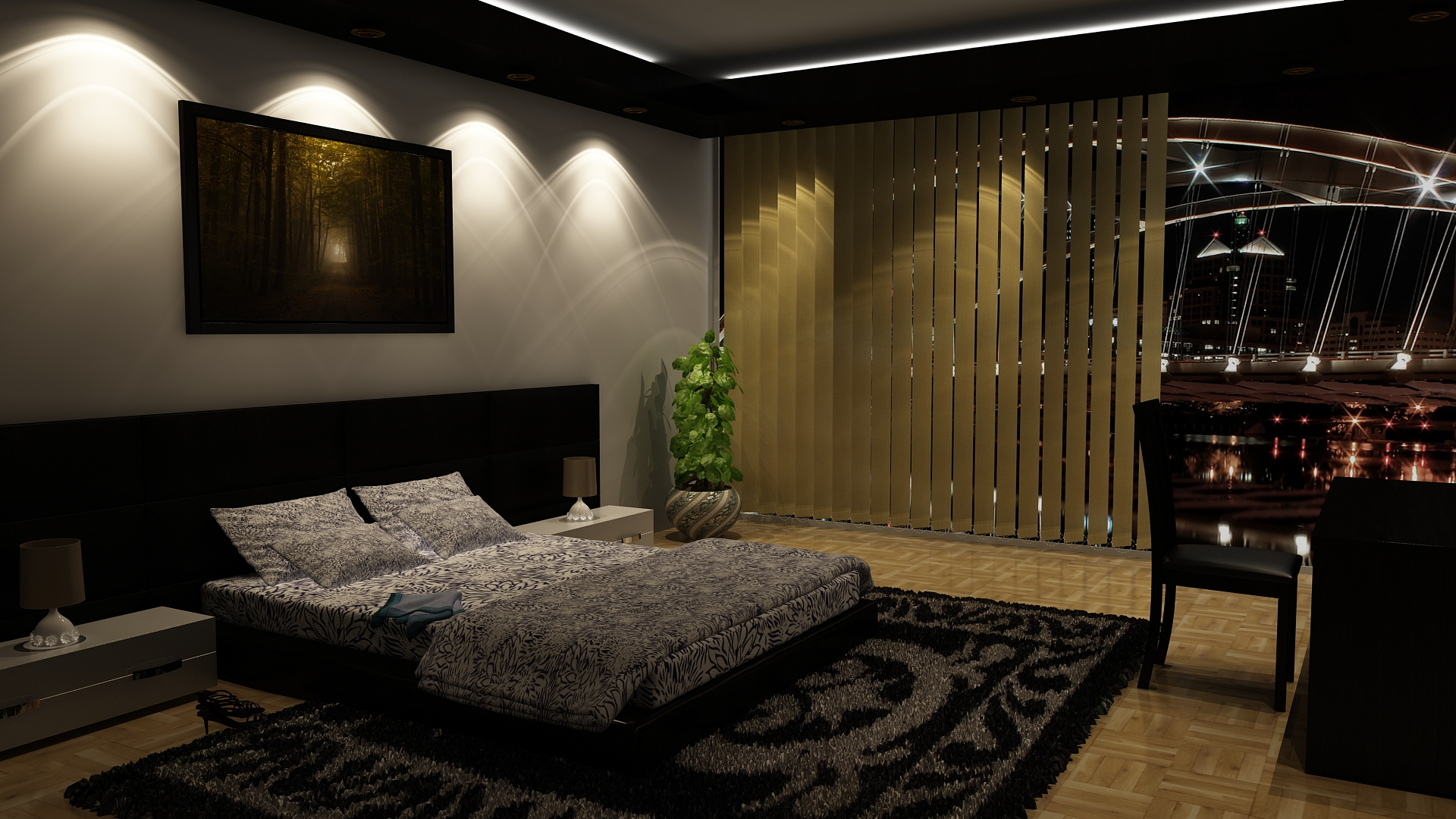 Bedroom night by 3d reality on deviantart for Make a 3d room
