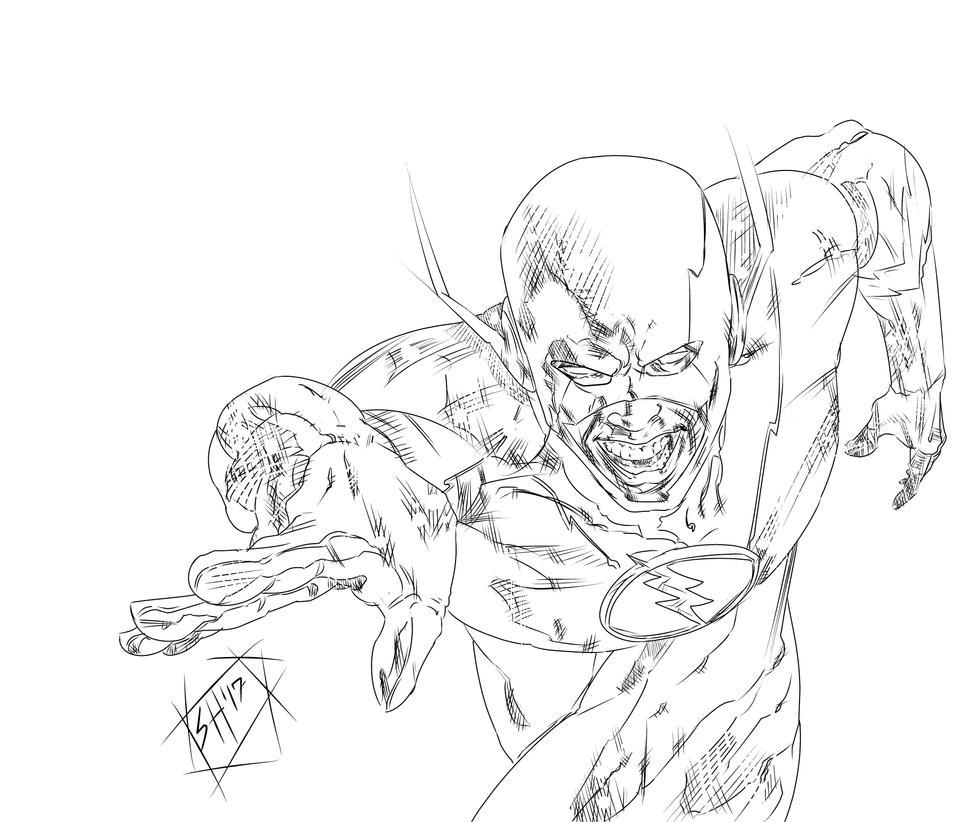 Reverse-Flash (Line Art) by g-kwan155
