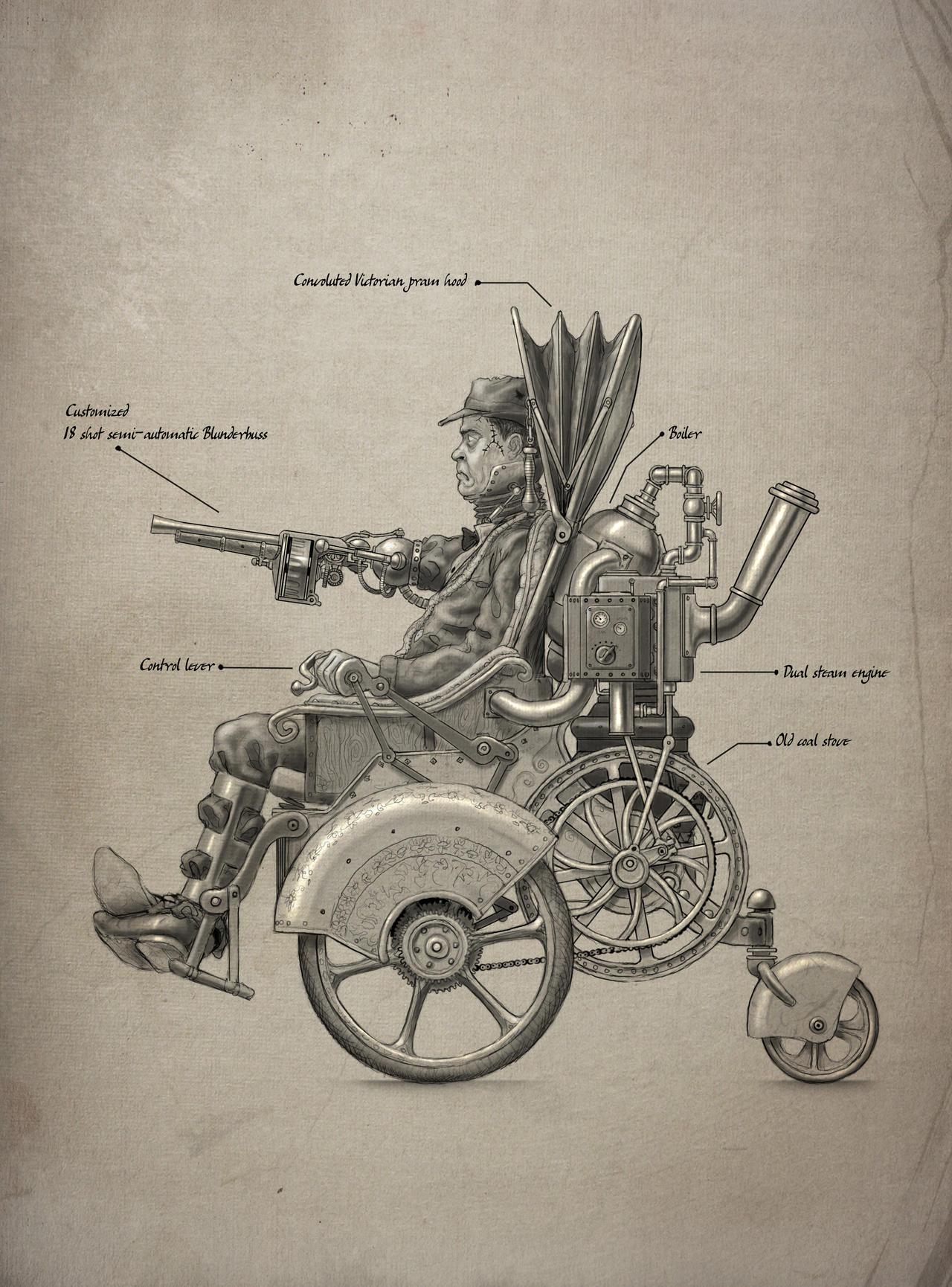 Steam powered wheelchair schematic. by BenPhillips on DeviantArt
