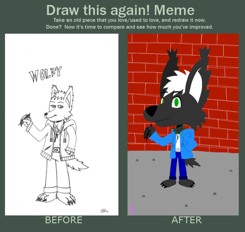 Wolfy - Before And After Meme by EdvinDraw