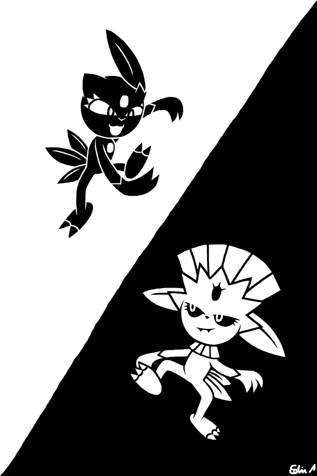 Sneasel and Weavile (Black and White) by EdvinDraw